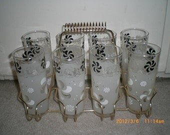 1950's 9 piece Glass set with Carrier