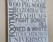 20% OFF SALE- University of Arkansas RAZORBACK hog canvas