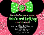 Customized Minnie Mouse Birthday Invitation polka dot hot pink bling