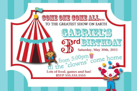 Carnival Circus Ticket Birthday Invitation