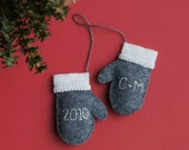 Personalized PAIR Felt Mini Mittens, CHOOSE YOUR COLOR, Ornament, Wedding Gift