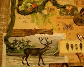 Rustic Naturalist Original Collage on Canvasboard Reindeer