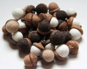 Featured in Martha Stewart Living Magazine Merino wool acorns felt  - set of 30 (any color of your choice)