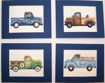 Vintage trucks nursery kids art, pick up truck art prints, boys trucks nursery art