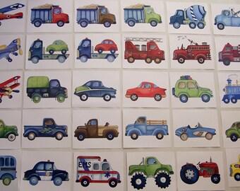 transportation art prints, construction trucks art, kids nursery prints,you choose 4