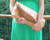 X-Large Pouch or Clutch - Camel Leather