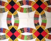 Vintage Double Wedding Ring Cheater Quilt Fabric - 3 Fat Quarters