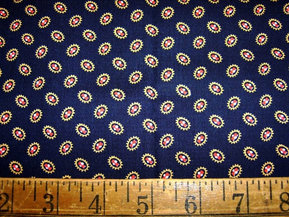 Orbiting Discs Vintage Navy Fabric - 1 Yd
