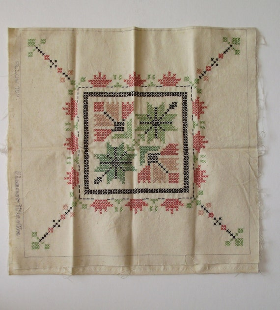 Vintage Cross Stitch Embroidery Pillow Top Ready to Complete