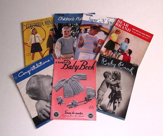 7 Vintage Baby Children 1950-1980s Knitting Crochet Booklets Pamphlets Lot