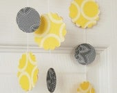 Paper garland shower or wedding decoration, modern grey and yellow, 3 yards