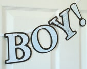 Its a Boy Baby Shower banner or door sign in baby blue and brown