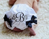 Monogrammed Bloomers. You Choose Thread Color and Bow Color