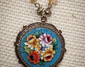 Antique Italian Micro Mosaic Pendant with French Rhinestones Semiprecious Stones Necklace