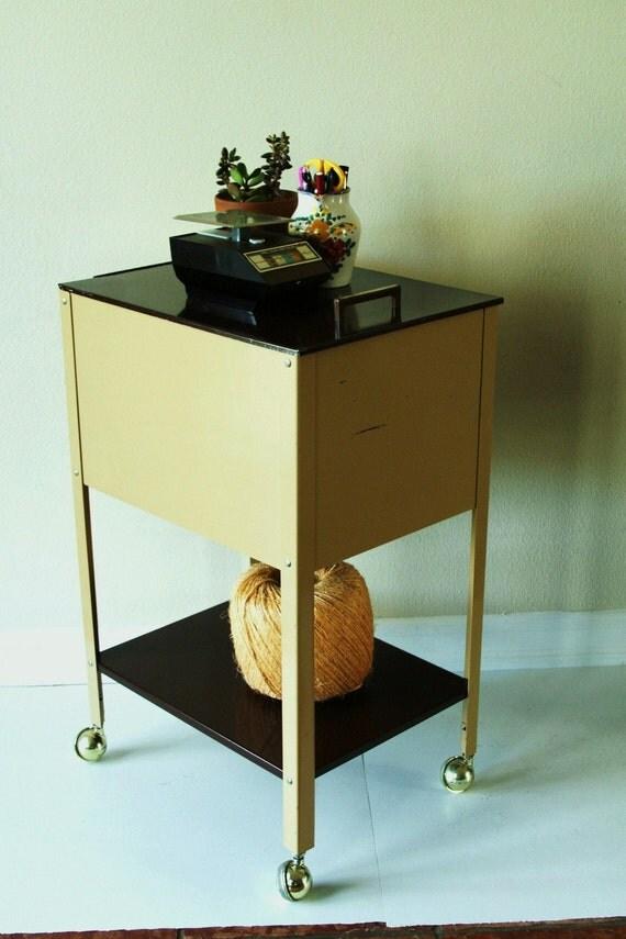 Vintage Metal Cabinets >> vintage rolling metal file cabinet