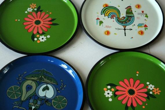 vintage melamine trays
