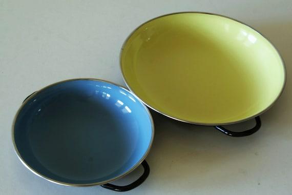 Reserved for Clare....Vintage enamel pans
