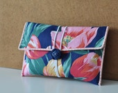 Fabric Button Clutch - Vintage Tulip Garden