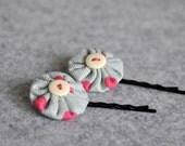 Duo Yoyo Hair Pins - Girly Gray and Pink Polka Dots