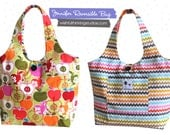 SALE - The Jennifer Reversible Tote Bag - Apples / Spa Scallops