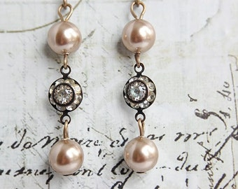 Champagne Pearl Earrings - Swarovski Crystal Pearl Earrings - Rhinestone and Pearl Earrings - Vintage Inspired Earrings - Jewelry