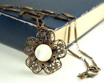 Antique Button Necklace, Vintage Button Jewelry, Pearl Button Pendant, Antique Button Jewelry