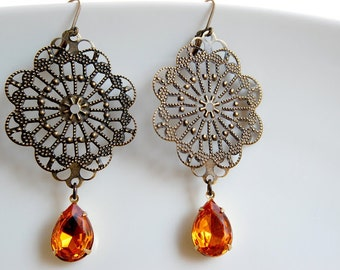 Orange Earrings/ Chandelier Earrings/ Filigree Drop Earrings/ Victorian Jewelry/ Topaz Rhinestone Earrings/ Fancy Earrings/ Big Earrings/