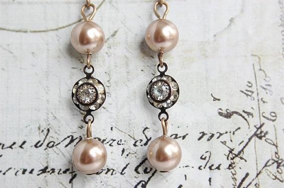 Champagne Pearl Earrings - Swarovski Crystal Pearl Earrings - Rhinestone and Pearl Earrings - Vintage Inspired Earrings - Jewelry
