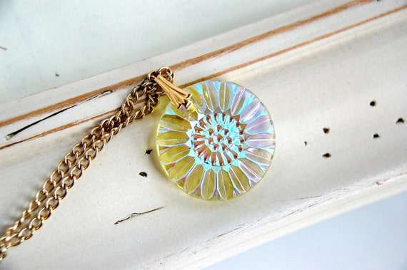 Light Yellow Glass Upcycled Necklace Vintage Pendant Necklace Repurposed Jewelry Upcycled Assemblage Sunflower Necklace