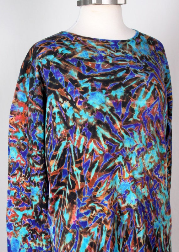 XL Shibori Long Sleeve T-Shirt Turquoise  Violet and Browns