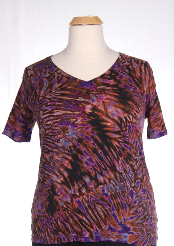 XL Shibori V-Neck T Purple
