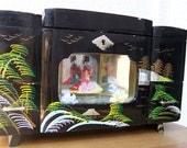 Vintage Black Japanese Music Jewelry Box-Geisha