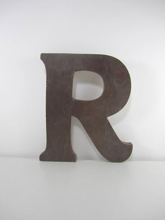 Large Brown Wooden Letter R