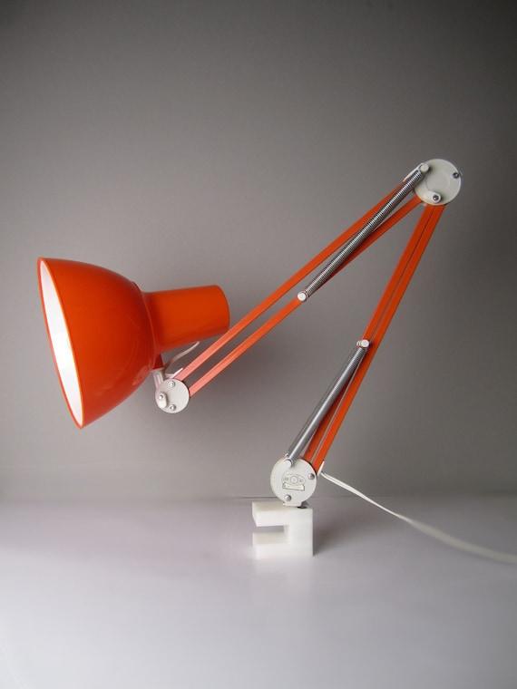 Modern Bright Orange Long Swing Arm Adjustable Portable Lamp