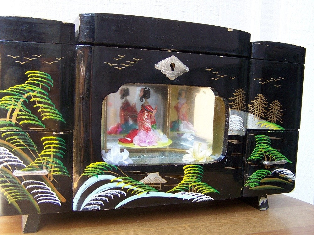 Vintage Black Japanese Music Jewelry Box Geisha By Simplychi