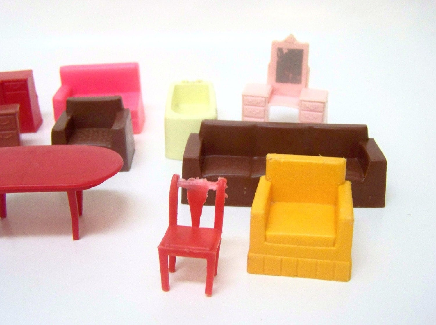 Vintage Marx Size Plastic Dollhouse Furniture