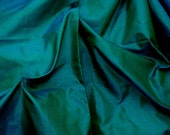 Silk Taffeta in Rich Green -Teal or Peacock Green blue Fat qurter-TF27