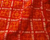 Cotton Batik hearts and flowers in Red, Yellow and white - One yard