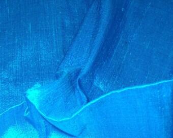 Silk Dupioni  in Dark Cyan / Blue Fat quarter-D 25