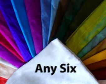 Extra wide Silk Dupioni  ANY SIX- Custom set - Half yard