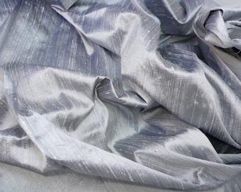 Silver-Grey, Black dual shaded pure silk dupioni - Fat quarter - D26
