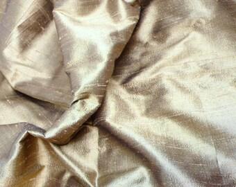 Dull Gold-Black Pure Indian Silk Dupioni - D 30 - Fat quater