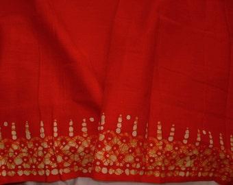 Orange Cotton fabric with batik border - half yard