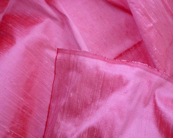 Silk Dupioni in Baby Pink with Red shimmers,Fat Quarter, D - 116.
