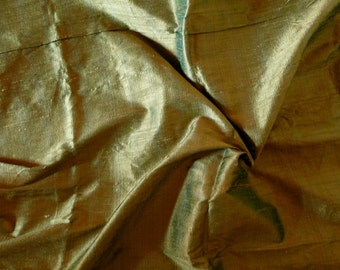 Silk Dupioni in  Pale Olive Green with Gold Shimmer, Fat quarter- D 143