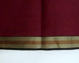 Handloom cotton fabric in Maroon and Black - One yard Yard  VMC 7