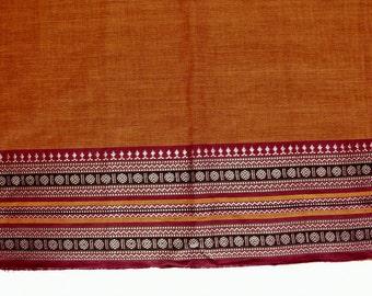 Handloom cotton fabric in Orange - One yard Yard  VMC 11