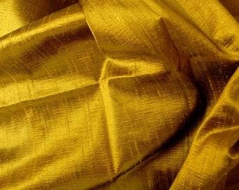 Silk Dupioni in Metallic Gold - Antique, Fat qarter-D 144