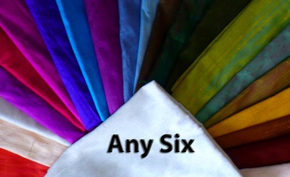 Silk Dupioni  ANY SIX- Custom set - fat quarters