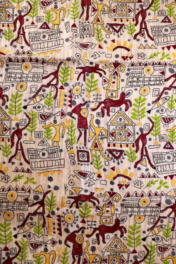 Tribal Art in Color: Hand embroidered silk fabric